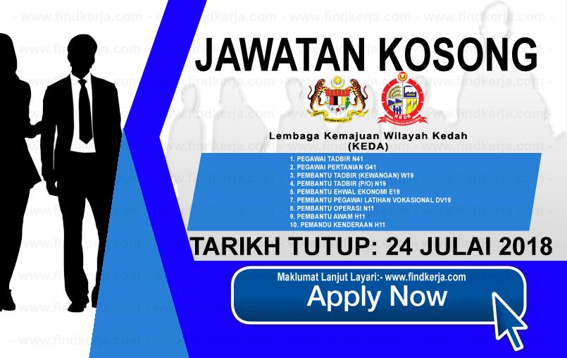 Jawatan Kerja Kosong KEDA - Lembaga Kemajuan Wilayah Kedah logo www.ohjob.info www.findkerja.com julai 2018