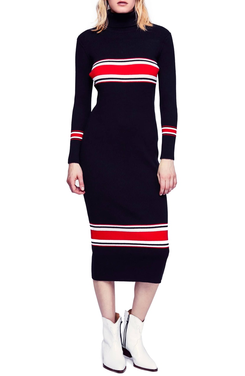 Free People Sport Stripe Midi Sweater Dress