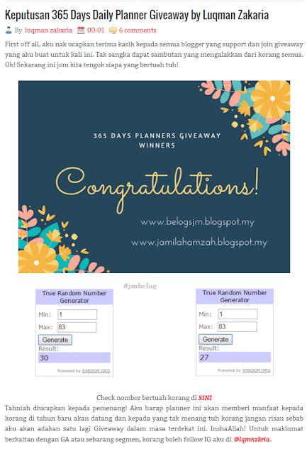 JM PEMENANG 365 Days Daily Planner Giveaway by Luqman Zakaria
