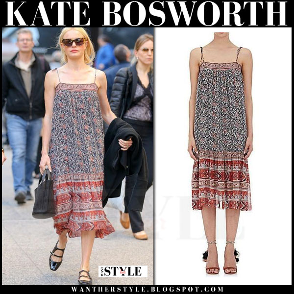 Kate Bosworth in red and blue ulla johnson imane midi dress and black meli melo rosalia  bag what she wore streetstyle casual boho