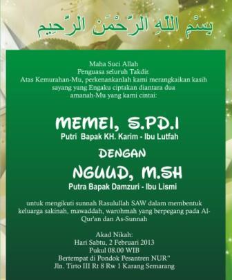 Contoh Undangan Pernikahan Islami : contoh, undangan, pernikahan, islami, Contoh, Format, Undangan, Pernikahan, Islam