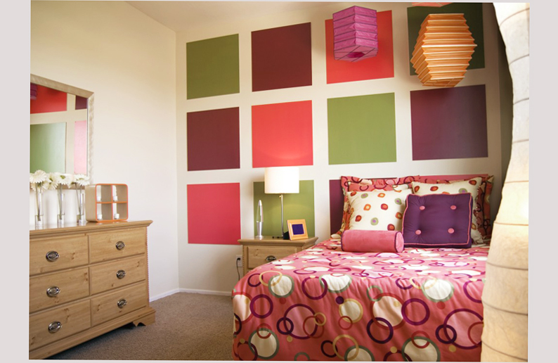 bedroom designs for teenage girls with boxes motive on wall colorful