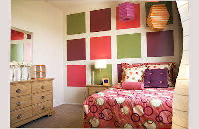 Bedroom Designs For Teenage Girls With Boxes Motive on Wall Colorful Picture