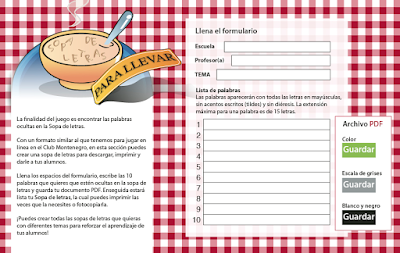 AYUDA PARA MAESTROS: Generador de sopa de letras en PDF gratuito