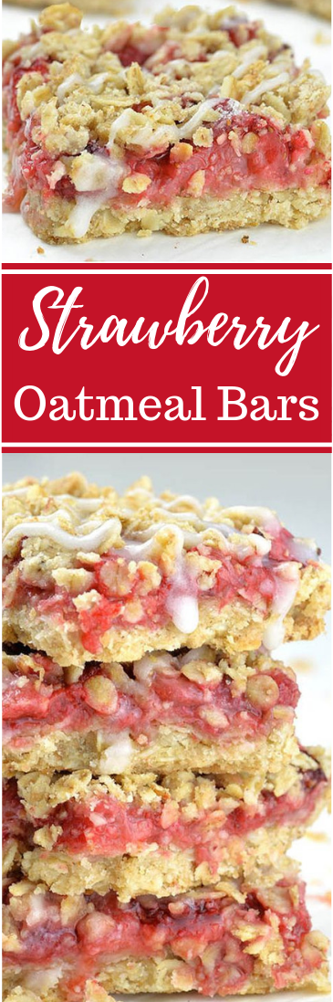 Easy Skinny Strawberry Oatmeal Bars #healthysnacks