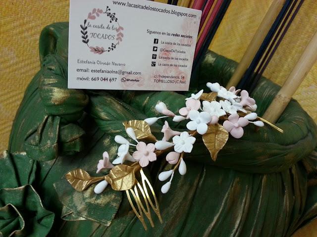 tocado de porcelana artesanal para novia estilo campestre-romántico