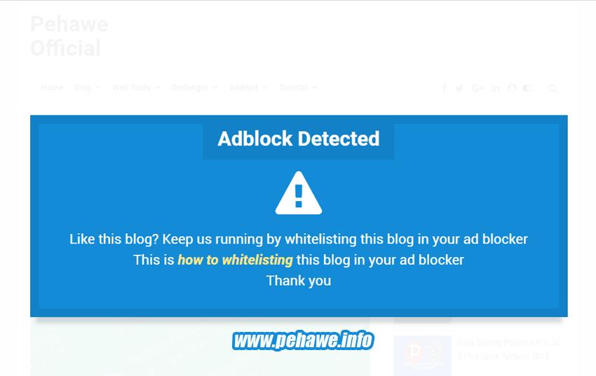 Cara Membuat Notifikasi Adblock di Blog