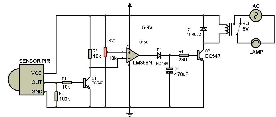 rangkaian sensor gerak menggunakan pir dan ic lm358