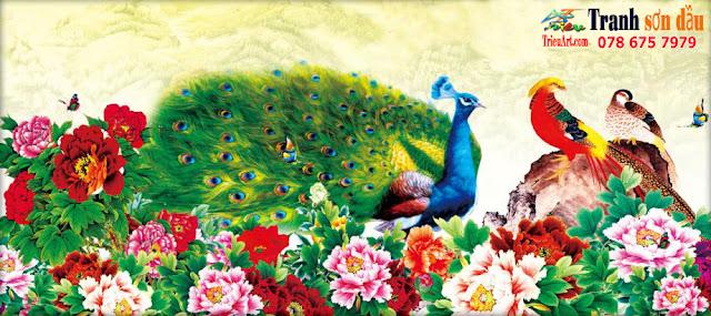 chim công hoa mẫu đơn