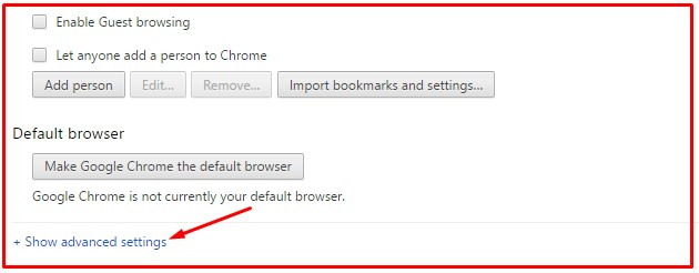 Chrome advanced option for clear browsing data