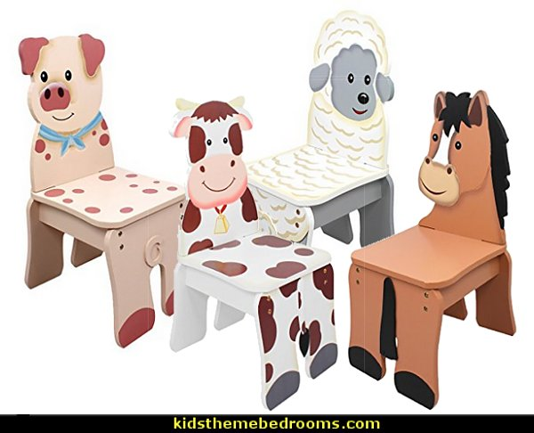 Happy Farm Animals  Kids Wooden chairs