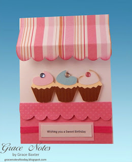 C upcake Shoppe Birthday card front, by Grace Baxter