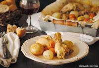 Muslitos de pollo con cebollitas y tomates cherrys al horno marinados con vino cocinando-con-neus