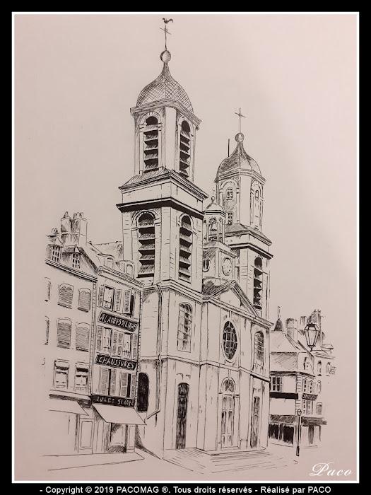 dessin au trait église Saint-Charles de Sedan dessinée par paco