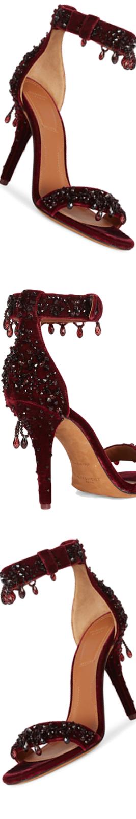 Givenchy Kali Line Embellished Velvet Ankle-Strap Sandals
