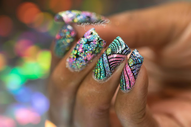 Lacquer Lockdown - Cupcake Polish, Cupcake Polish Unicorn Collection, nail art stamping blog, nail art stamping, nail art, Vivid Lacquer, VL019, holographic glitter, holographiic polish, rainbow nails, nail art ideas, reverse stamping, nail art tutorial, cupcake polish nail art, stamping