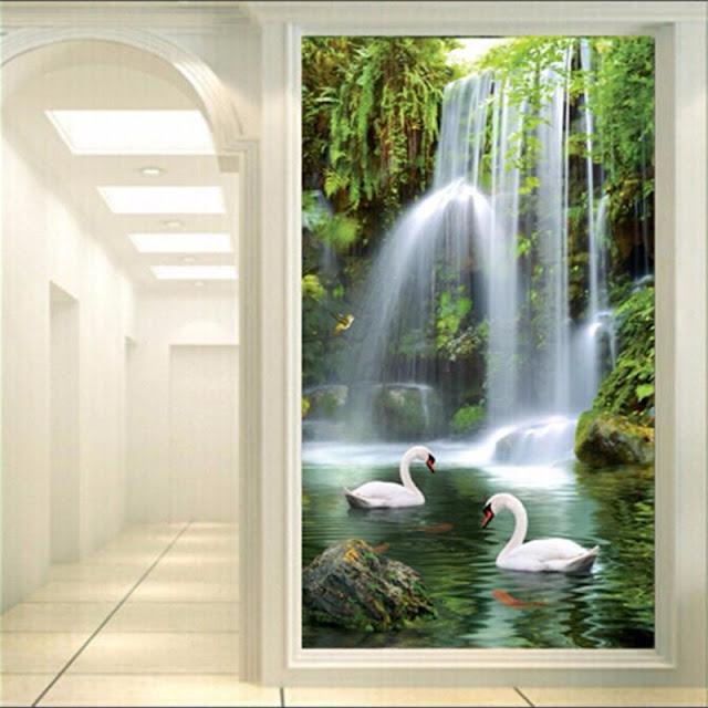 vatten fall tapet svanar fototapet natur tapet 3d