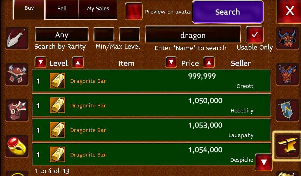 sell in arcane legends