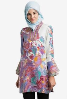 Baju batik atasan muslimah lengan panjang