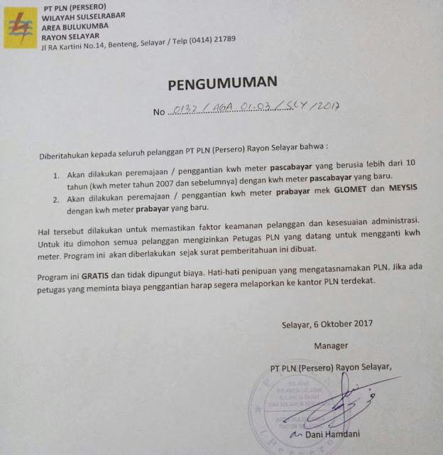 Pengumuman PT.PLN Rayon Selayar, Terkait Peremajaan KWH