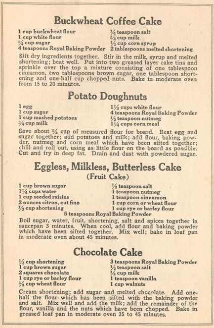Cake Recipes From The Depression Era