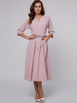 Three-Quarter Sleeve Pocket Belt Day Dress