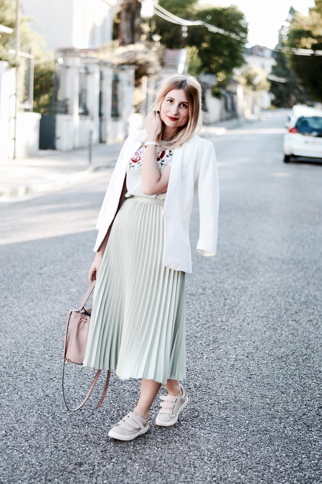Look anniversaire : jupe plissée midi mint