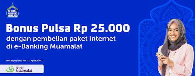 Beli Paket Data XL di e-Banking Muamalat , Bonus Pulsa Rp25.000