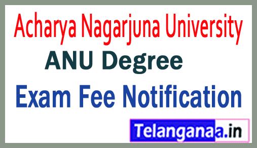 Acharya Nagarjuna University ANU Degree Exam Fee Notification