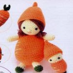 patron gratis muñeca zanahoria amigurumi