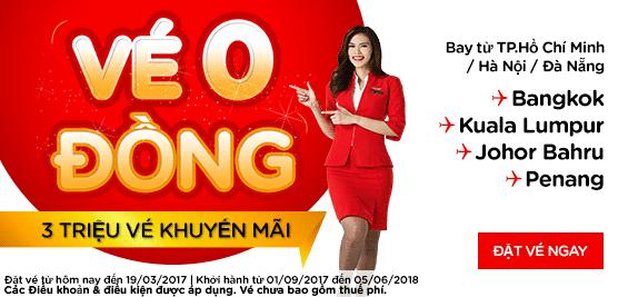 Air Asia khuyến mãi 3 triệu vé 0 đồng