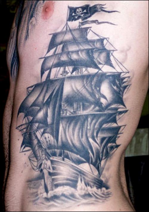 58+ Ghost Pirate Ship Tattoos Ideas  |Pirate Ship Tattoo