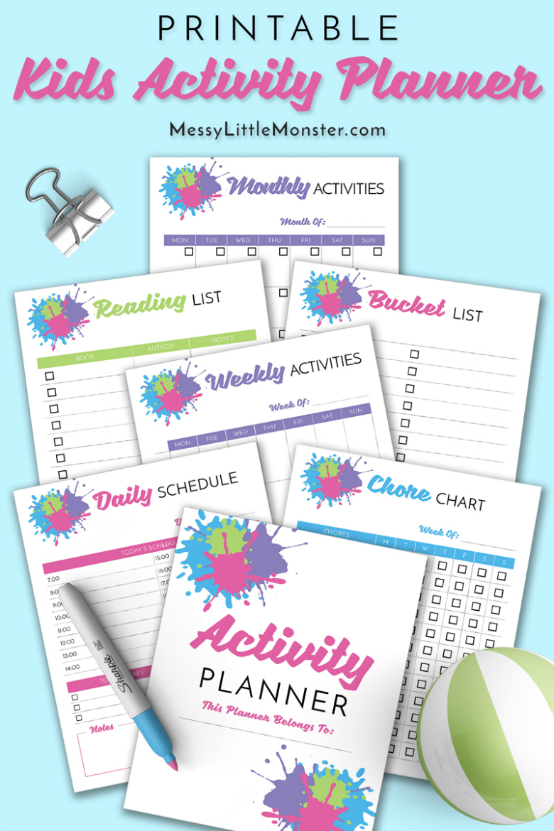 Printable kids activity planner. Inlcudes a daily activity planner, kids weekly planner, monthly planner as well as a reading list, book list and bucket list.