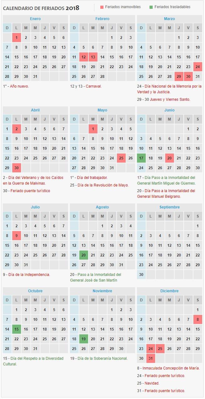 Calendario Completo.Calendario De Feriados 2018