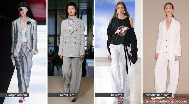 Широкие брюки с объемным верхом на подиуме весна-лето 2018