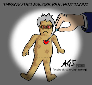 gentiloni, angioplastica, malore, vignetta, satira