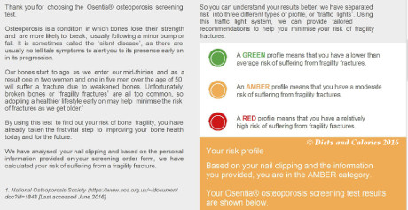 osentia osteoporosis screening test risk