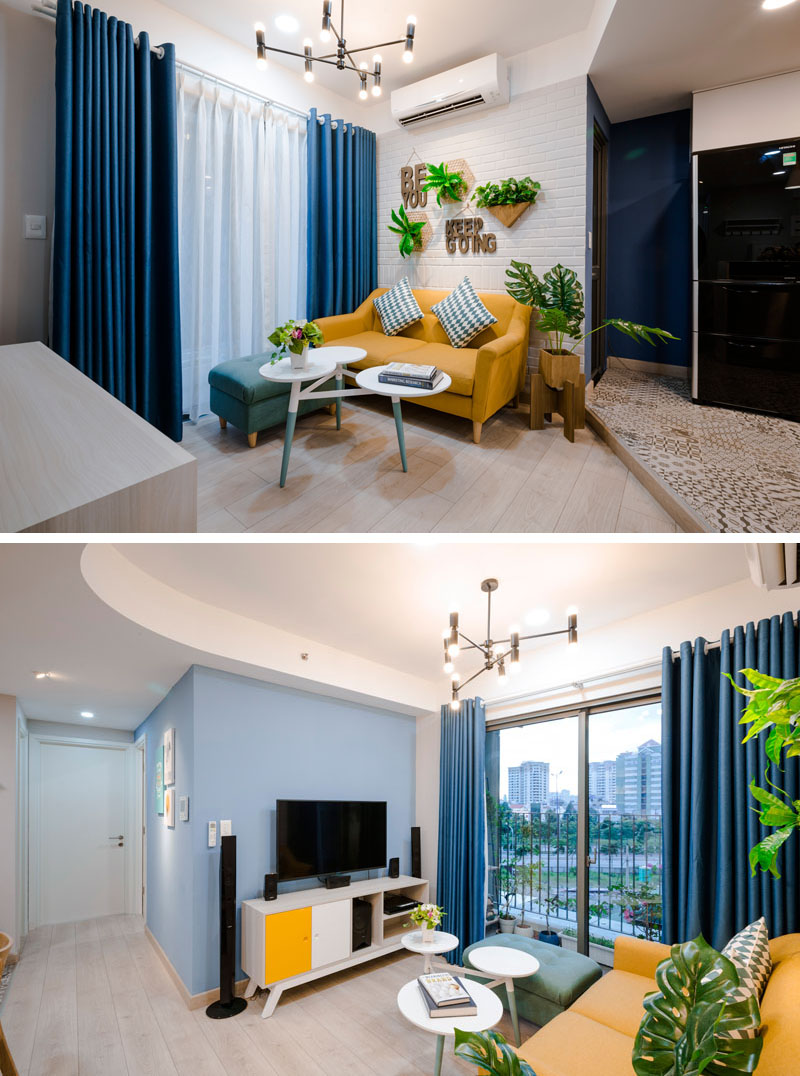 blue-white-yellow-living-room-020518-1253-05 Fantastic Blue And Yellow Decorating Ideas Keep This Small Apartment Fun And Bright Interior