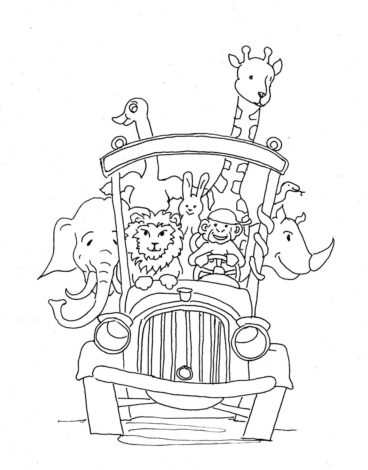 Coloring Pages For Kids By Mr Adron Animal School Bus Printable Drawing Page