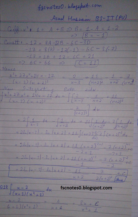 FSc ICS Notes Math Part 2 Chapter 3 Integration Exercise 3.5 question 12 - 22 by Asad Hussain 5