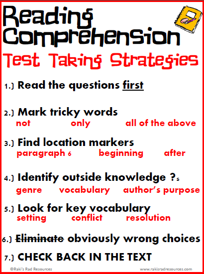 Reading comprehension test taking strategies - free download from Raki's Rad Resources