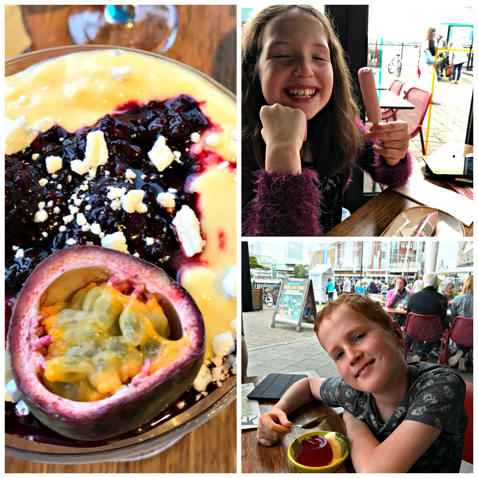 Maracuya Mess and kids desserts at Las Iguanas Mermaid Quay, Cardiff