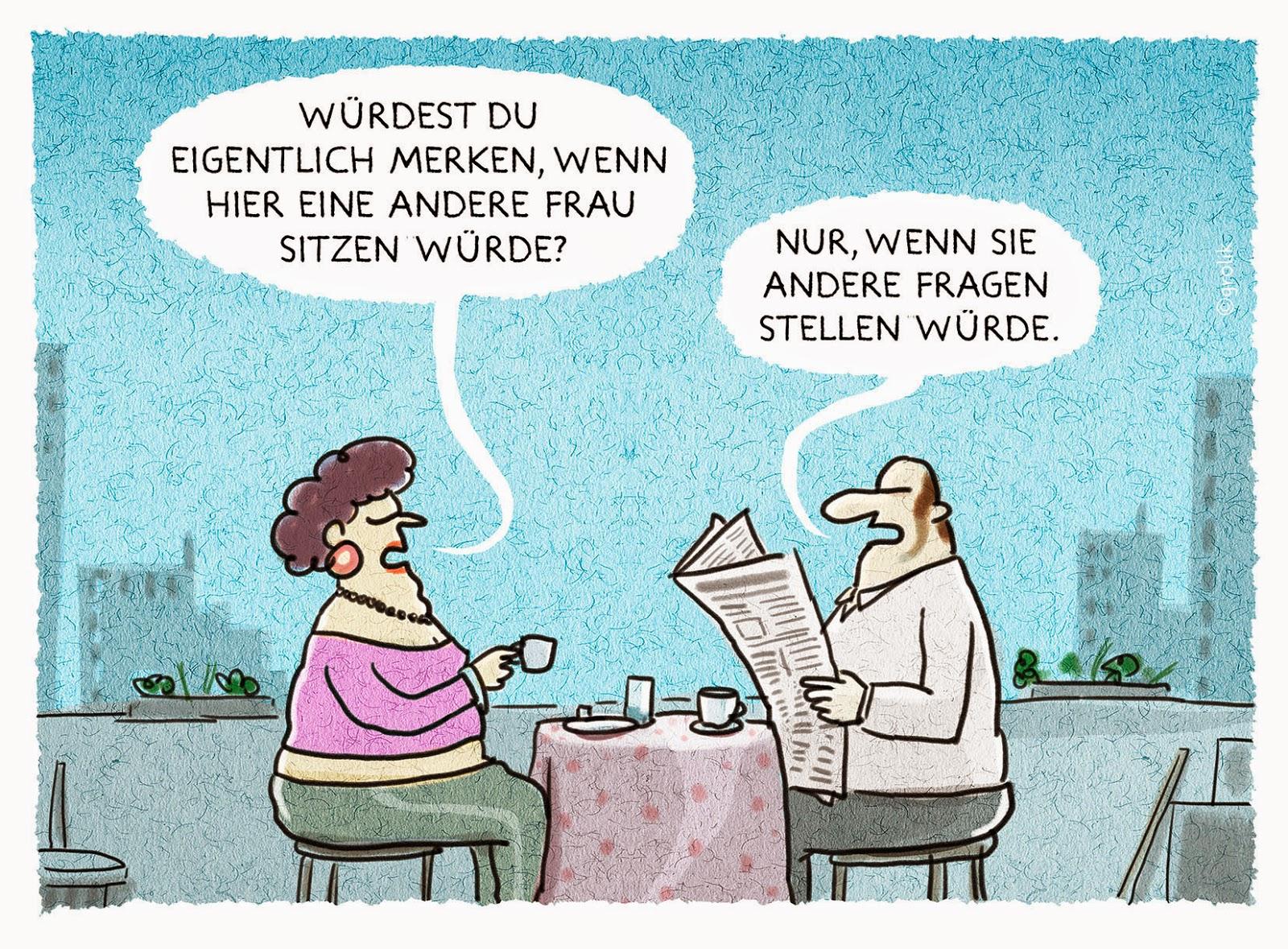 Cartoons von Grolik: Mann-Frau-Kommunikation