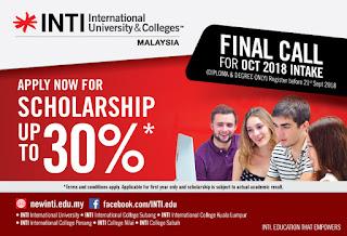 Beasiswa INTI Malaysia 2018 - 2019