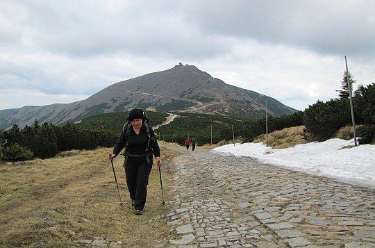 Czerwonym szlakiem opuszczamy Przełęcz pod Śnieżką.