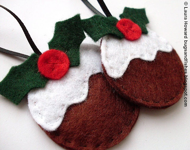 felt Christmas pudding ornaments