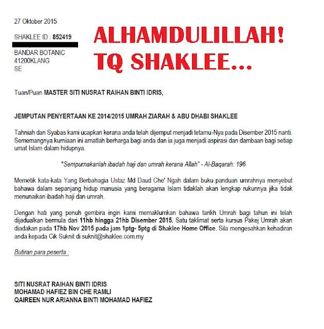 Jemputan Umrah Abu Dhabi 2014/2015 Shaklee