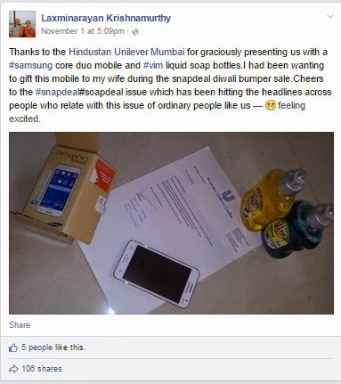 HUL sent Samsung Galaxy Duo along with 2 bottles of Utensils Liquid Soap