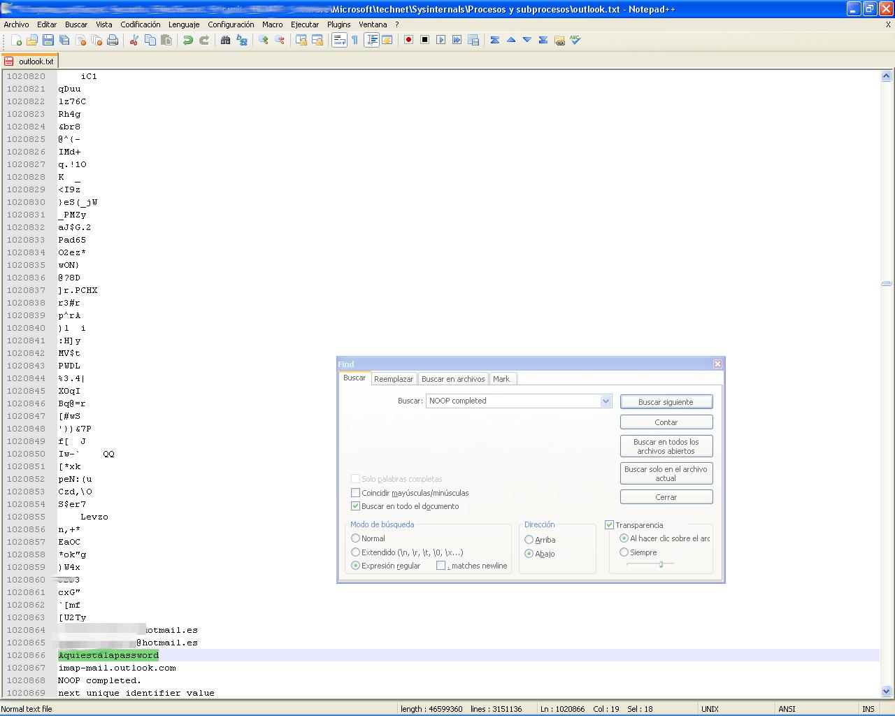 Obtención de passwords de Outlook analizando el dump del ...