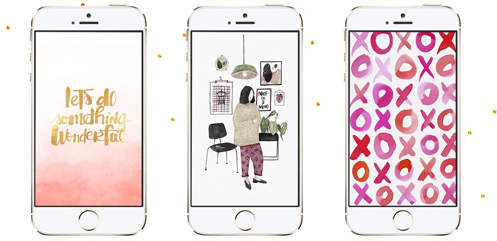 wallpapers-fofos-tumblr-para-donwload-iphone-celular-lipstick-and-polaroids